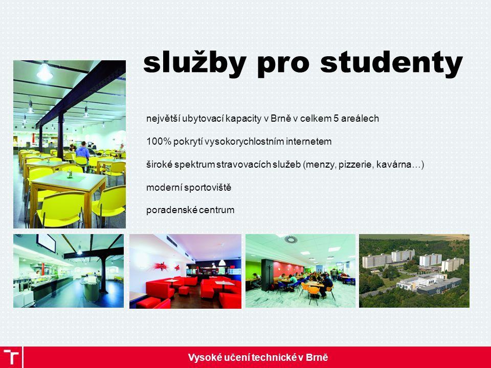 Vysoké učení technické v Brně služby pro studenty největší ubytovací kapacity v Brně v celkem 5 areálech 100% pokrytí vysokorychlostním internetem široké spektrum stravovacích služeb (menzy, pizzerie, kavárna…) moderní sportoviště poradenské centrum