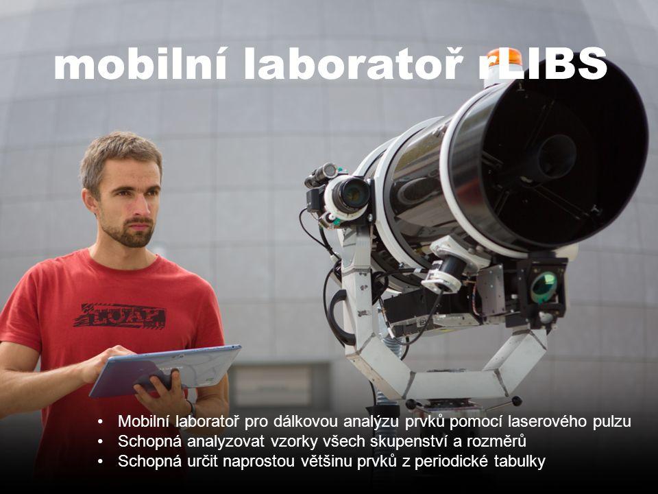 Vysoké učení technické v Brně mobilní laboratoř rLIBS Mobilní laboratoř pro dálkovou analýzu prvků pomocí laserového pulzu Schopná analyzovat vzorky všech skupenství a rozměrů Schopná určit naprostou většinu prvků z periodické tabulky