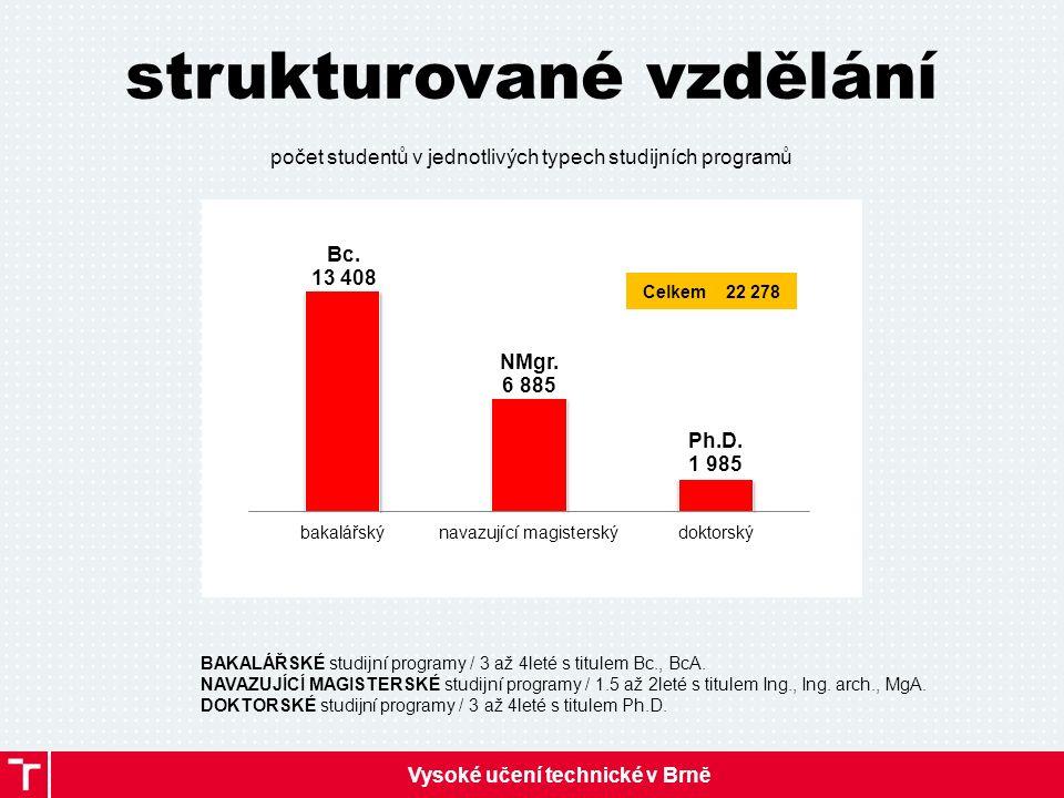 Vysoké učení technické v Brně strukturované vzdělání počet studentů v jednotlivých typech studijních programů BAKALÁŘSKÉ studijní programy / 3 až 4leté s titulem Bc., BcA.