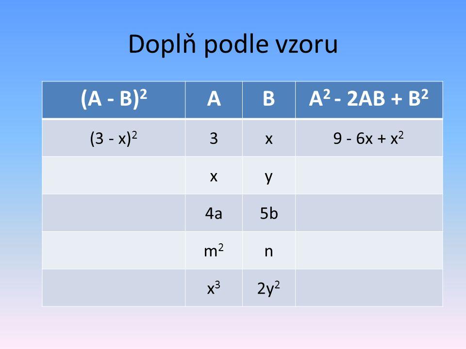 Doplň podle vzoru (A - B) 2 ABA 2 - 2AB + B 2 (3 - x) 2 3x9 - 6x + x 2 xy 4a5b m2m2 n x3x3 2y 2