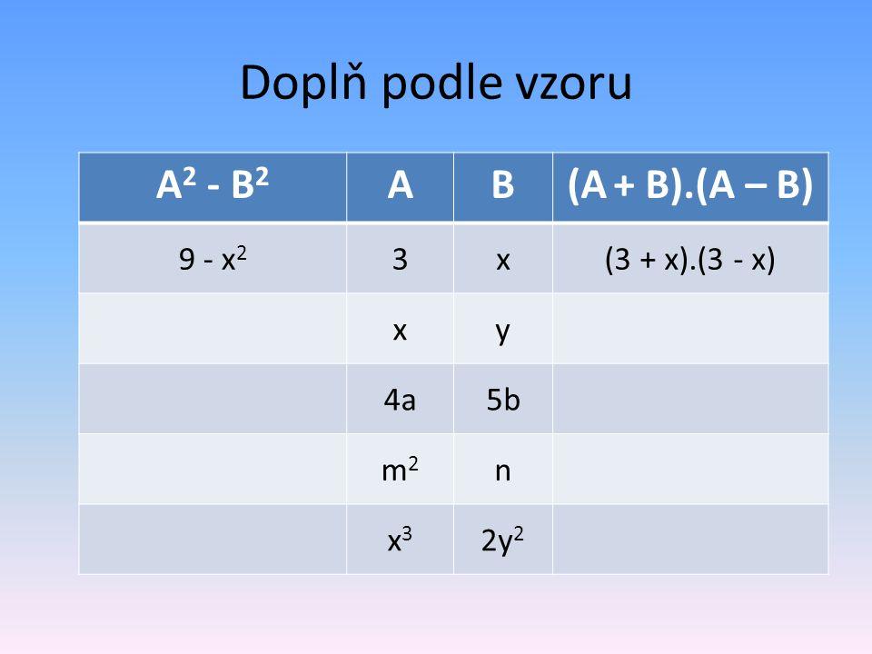 Doplň podle vzoru A 2 - B 2 AB(A + B).(A – B) 9 - x 2 3x(3 + x).(3 - x) xy 4a5b m2m2 n x3x3 2y 2