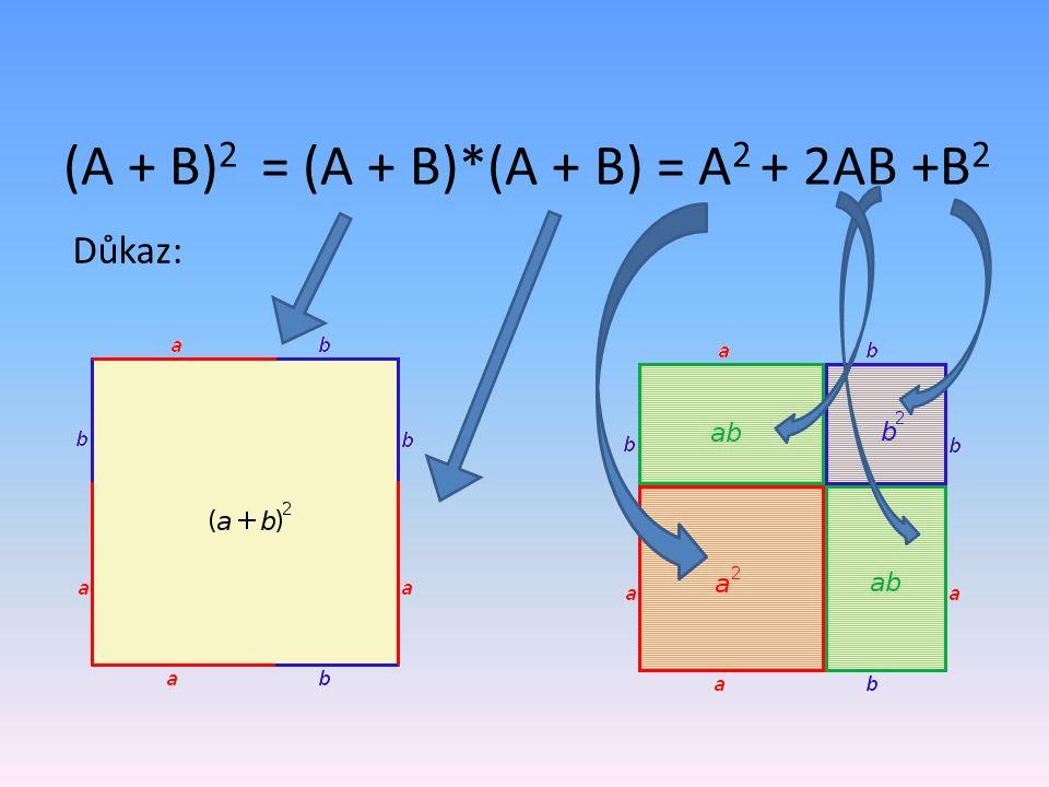 (A + B) 2 = (A + B)*(A + B) = A 2 + 2AB +B 2 Důkaz: