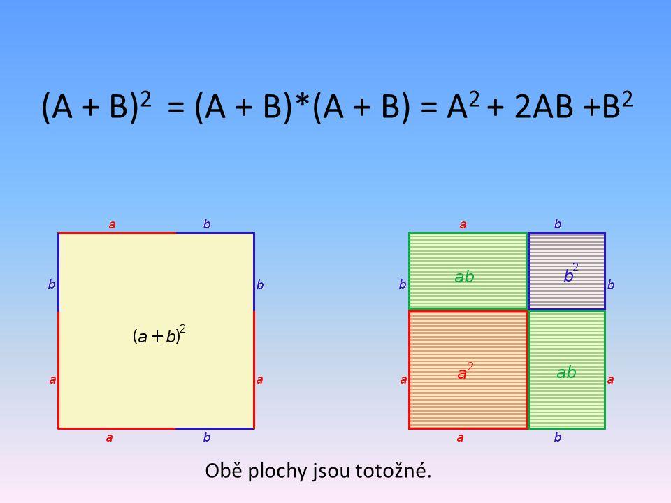 (A + B) 2 = (A + B)*(A + B) = A 2 + 2AB +B 2 Obě plochy jsou totožné.