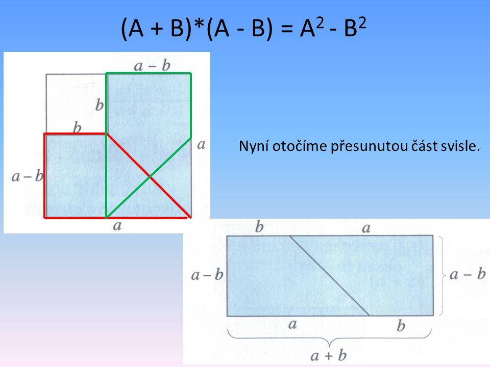 (A + B)*(A - B) = A 2 - B 2 Nyní otočíme přesunutou část svisle.