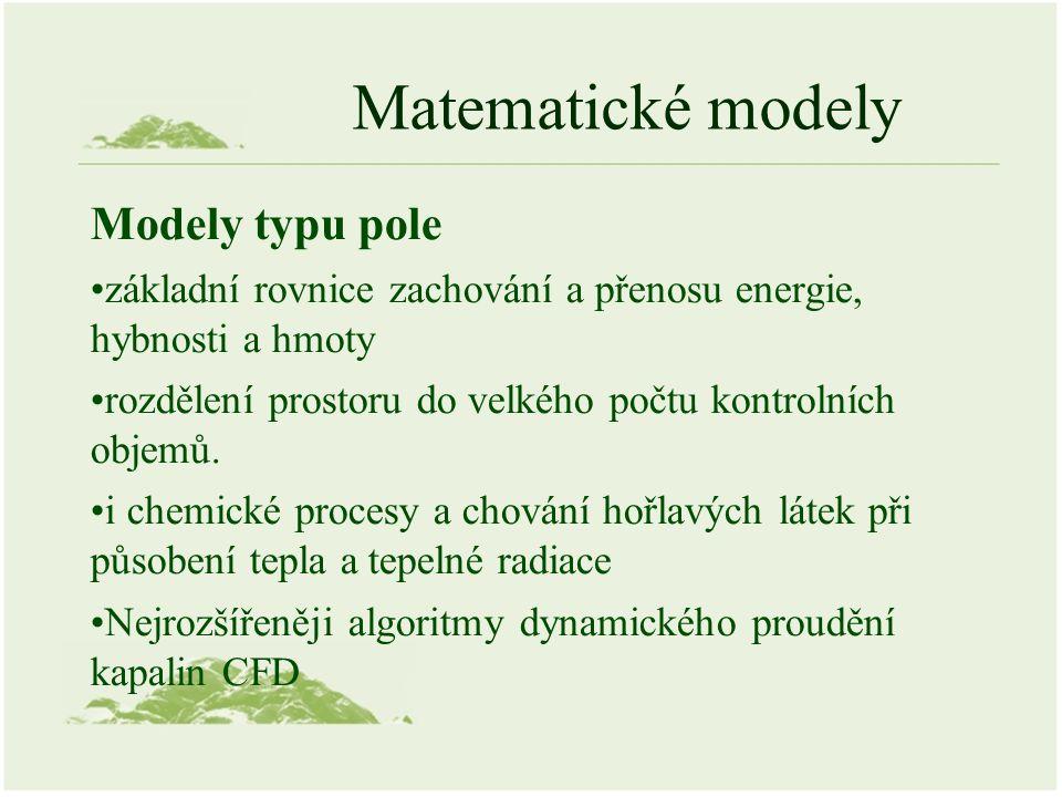 Matematické modely Modely typu pole základní rovnice zachování a přenosu energie, hybnosti a hmoty rozdělení prostoru do velkého počtu kontrolních objemů.