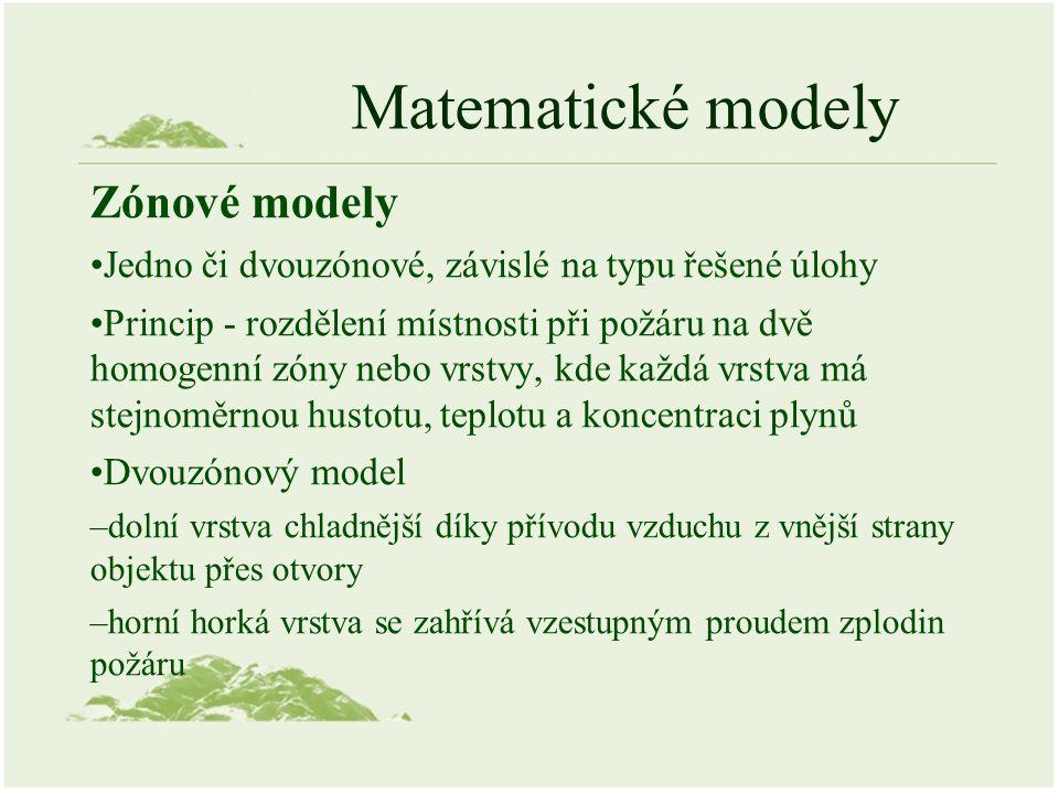 Matematické modely Zónové modely Jedno či dvouzónové, závislé na typu řešené úlohy Princip - rozdělení místnosti při požáru na dvě homogenní zóny nebo