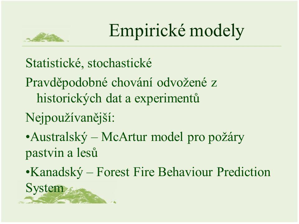 Empirické modely Statistické, stochastické Pravděpodobné chování odvožené z historických dat a experimentů Nejpoužívanější: Australský – McArtur model pro požáry pastvin a lesů Kanadský – Forest Fire Behaviour Prediction System