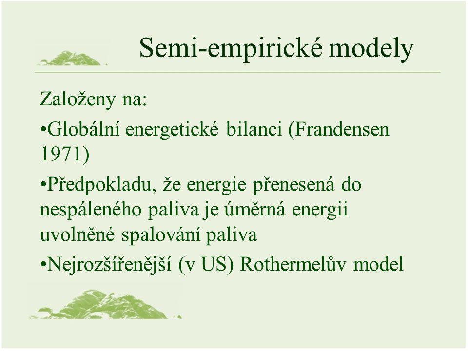 Semi-empirické modely Založeny na: Globální energetické bilanci (Frandensen 1971) Předpokladu, že energie přenesená do nespáleného paliva je úměrná energii uvolněné spalování paliva Nejrozšířenější (v US) Rothermelův model