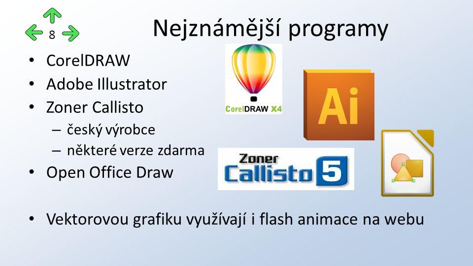 CorelDRAW Adobe Illustrator Zoner Callisto – český výrobce – některé verze zdarma Open Office Draw Vektorovou grafiku využívají i flash animace na web