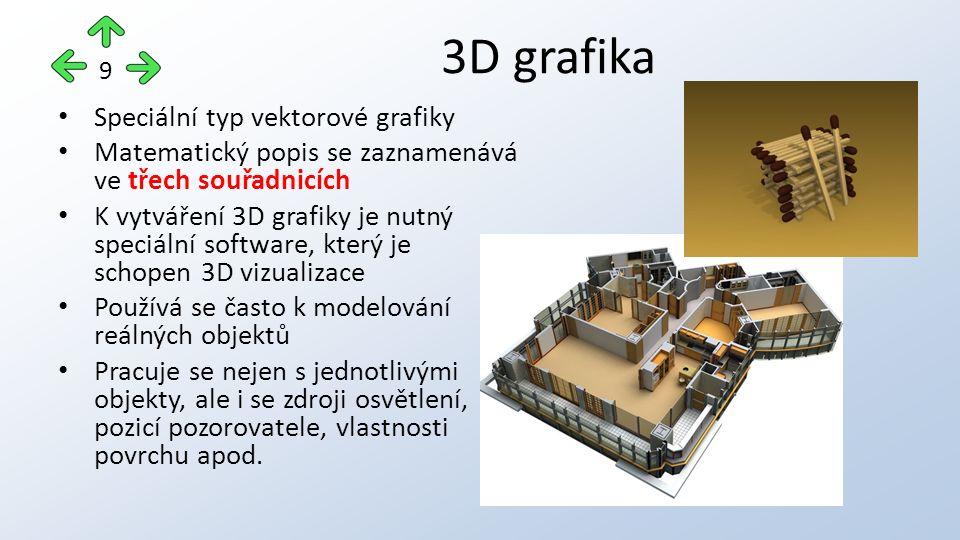 Speciální typ vektorové grafiky Matematický popis se zaznamenává ve třech souřadnicích K vytváření 3D grafiky je nutný speciální software, který je schopen 3D vizualizace Používá se často k modelování reálných objektů Pracuje se nejen s jednotlivými objekty, ale i se zdroji osvětlení, pozicí pozorovatele, vlastnosti povrchu apod.