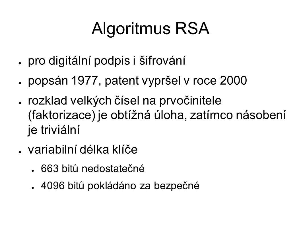Algoritmus RSA ● pro digitální podpis i šifrování ● popsán 1977, patent vypršel v roce 2000 ● rozklad velkých čísel na prvočinitele (faktorizace) je obtížná úloha, zatímco násobení je triviální ● variabilní délka klíče ● 663 bitů nedostatečné ● 4096 bitů pokládáno za bezpečné