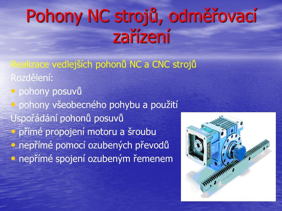 Pohony NC strojů, odměřovací zařízení Realizace vedlejších pohonů NC a CNC strojů Rozdělení: pohony posuvů pohony všeobecného pohybu a použití Uspořádání pohonů posuvů přímé propojení motoru a šroubu nepřímé pomocí ozubených převodů nepřímé spojení ozubeným řemenem