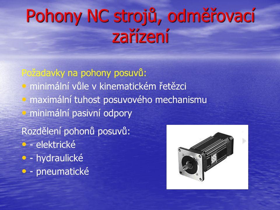 Pohony NC strojů, odměřovací zařízení Požadavky na pohony posuvů: minimální vůle v kinematickém řetězci maximální tuhost posuvového mechanismu minimální pasivní odpory Rozdělení pohonů posuvů: - elektrické - hydraulické - pneumatické