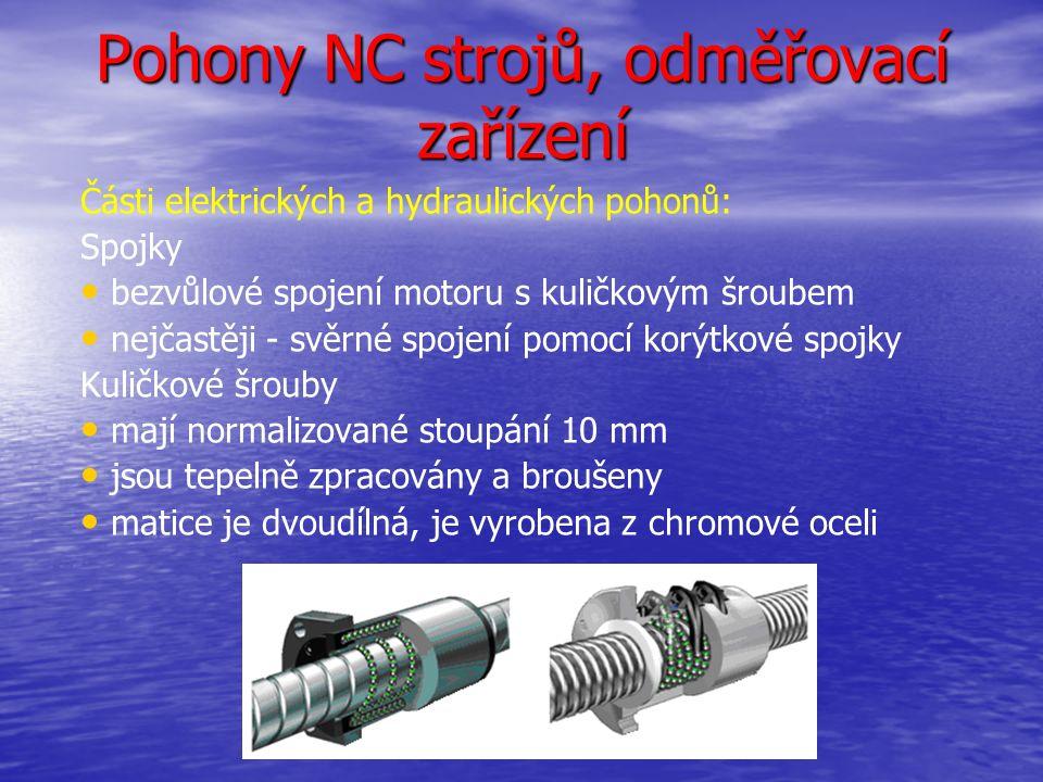 Pohony NC strojů, odměřovací zařízení Části elektrických a hydraulických pohonů: Spojky bezvůlové spojení motoru s kuličkovým šroubem nejčastěji - svěrné spojení pomocí korýtkové spojky Kuličkové šrouby mají normalizované stoupání 10 mm jsou tepelně zpracovány a broušeny matice je dvoudílná, je vyrobena z chromové oceli