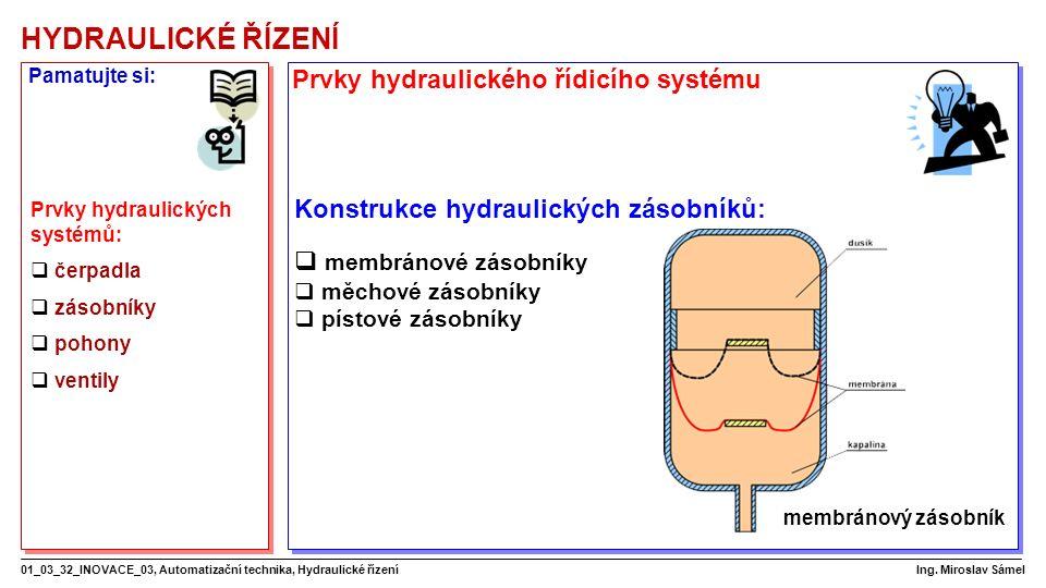 HYDRAULICKÉ ŘÍZENÍ 01_03_32_INOVACE_03, Automatizační technika, Hydraulické řízení Ing.