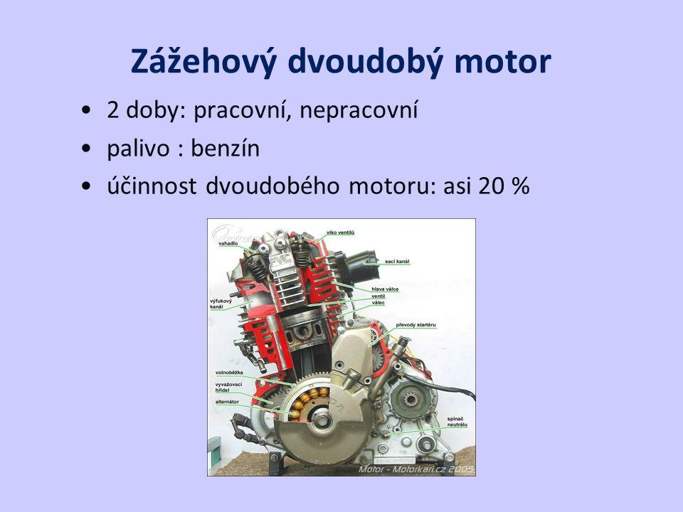 Zážehový dvoudobý motor 2 doby: pracovní, nepracovní palivo : benzín účinnost dvoudobého motoru: asi 20 %