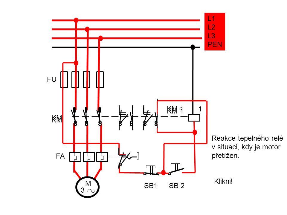 FU FA KM KM 1 1 SB1SB 2 M 3 L1 L2 L3 PEN KM KM 1 Reakce tepelného relé v situaci, kdy je motor přetížen.