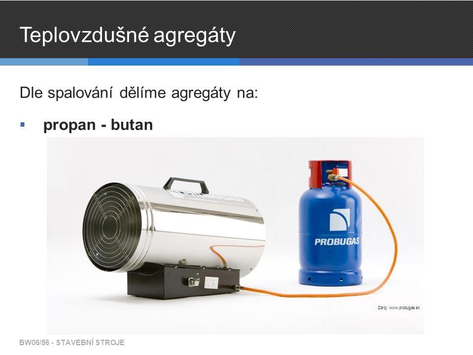 Teplovzdušné agregáty Dle spalování dělíme agregáty na:  propan - butan BW06/56 - STAVEBNÍ STROJE Zdroj: www.probugas.sk