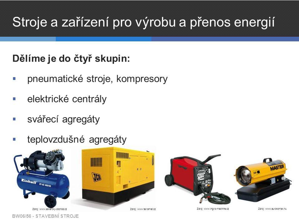 Stroje a zařízení pro výrobu a přenos energií Dělíme je do čtyř skupin:  pneumatické stroje, kompresory  elektrické centrály  svářecí agregáty  te