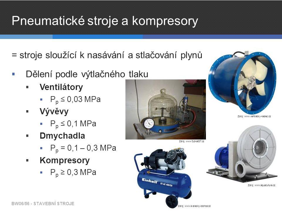 Pneumatické stroje a kompresory = stroje sloužící k nasávání a stlačování plynů  Dělení podle výtlačného tlaku  Ventilátory  P p ≤ 0,03 MPa  Vývěvy  P p ≤ 0,1 MPa  Dmychadla  P p = 0,1 – 0,3 MPa  Kompresory  P p ≥ 0,3 MPa BW06/56 - STAVEBNÍ STROJE Zdroj: www.ventilatory-kadlec.cz Zdroj: www.aquaculture.cz Zdroj: www.fyzika007.cz Zdroj: www.svarecky-obchod.cz