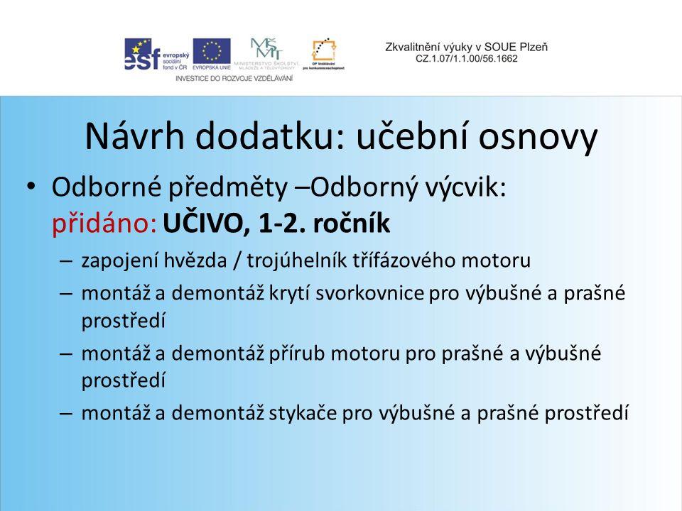 Návrh dodatku: učební osnovy Odborné předměty –Odborný výcvik: přidáno: UČIVO, 1-2.