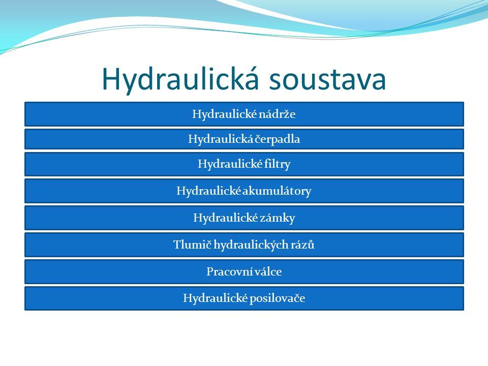 Hydraulická soustava Hydraulické nádrže Hydraulická čerpadla Hydraulické filtry Hydraulické akumulátory Hydraulické zámky Tlumič hydraulických rázů Pracovní válce Hydraulické posilovače