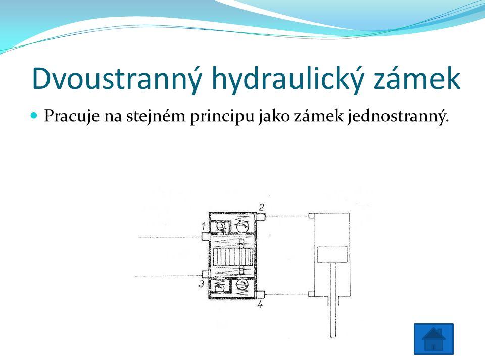 Dvoustranný hydraulický zámek Pracuje na stejném principu jako zámek jednostranný.