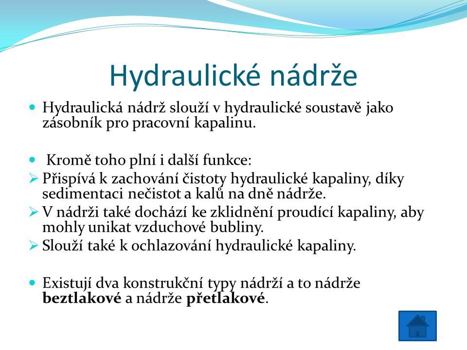 Hydraulické nádrže Hydraulická nádrž slouží v hydraulické soustavě jako zásobník pro pracovní kapalinu.