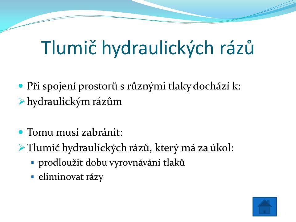 Tlumič hydraulických rázů Při spojení prostorů s různými tlaky dochází k:  hydraulickým rázům Tomu musí zabránit:  Tlumič hydraulických rázů, který má za úkol:  prodloužit dobu vyrovnávání tlaků  eliminovat rázy