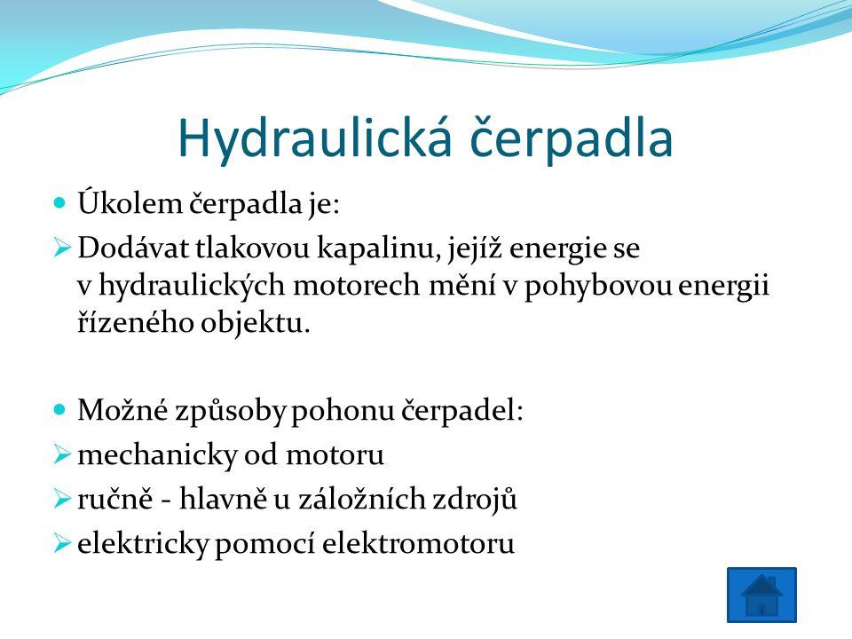 Hydraulická čerpadla Úkolem čerpadla je:  Dodávat tlakovou kapalinu, jejíž energie se v hydraulických motorech mění v pohybovou energii řízeného objektu.