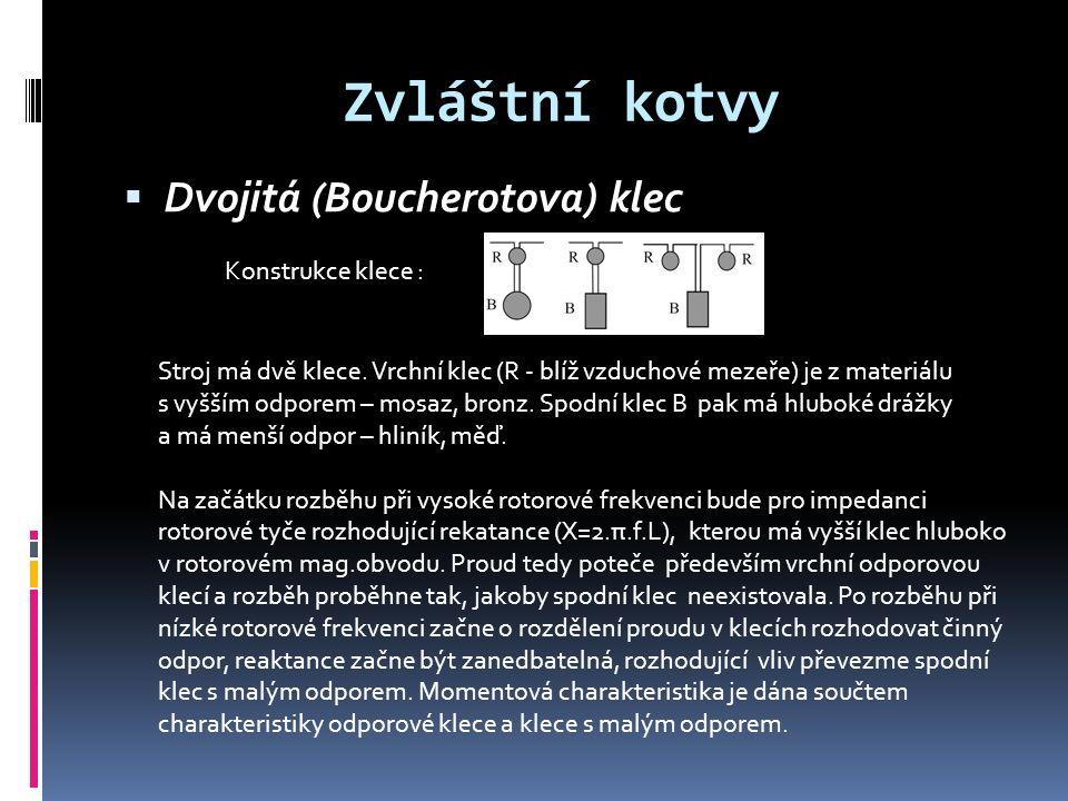 Zvláštní kotvy  Dvojitá (Boucherotova) klec Konstrukce klece : Stroj má dvě klece.