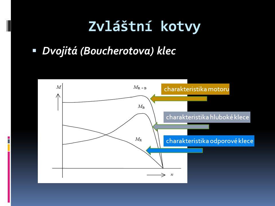 Zvláštní kotvy  Dvojitá (Boucherotova) klec charakteristika odporové klece charakteristika hluboké klece charakteristika motoru