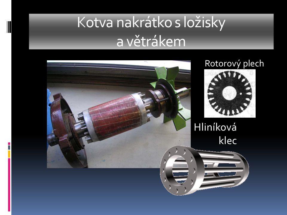 Kotva nakrátko s ložisky a větrákem Hliníková klec Rotorový plech