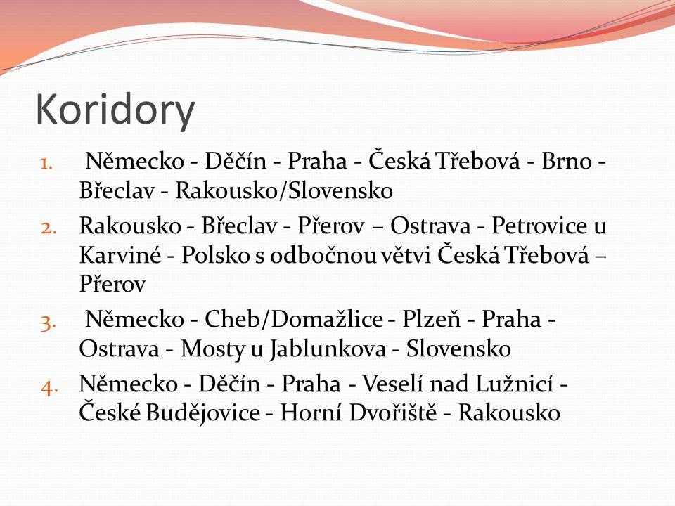 Koridory 1. Německo - Děčín - Praha - Česká Třebová - Brno - Břeclav - Rakousko/Slovensko 2.