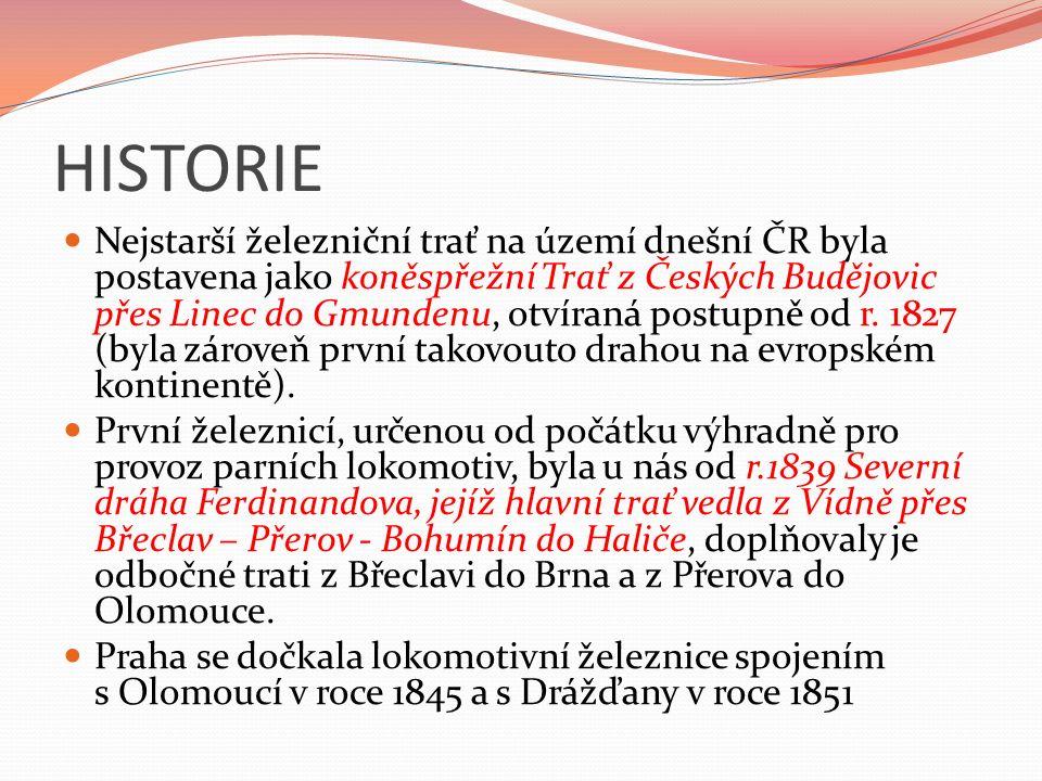 HISTORIE Nejstarší železniční trať na území dnešní ČR byla postavena jako koněspřežní Trať z Českých Budějovic přes Linec do Gmundenu, otvíraná postupně od r.