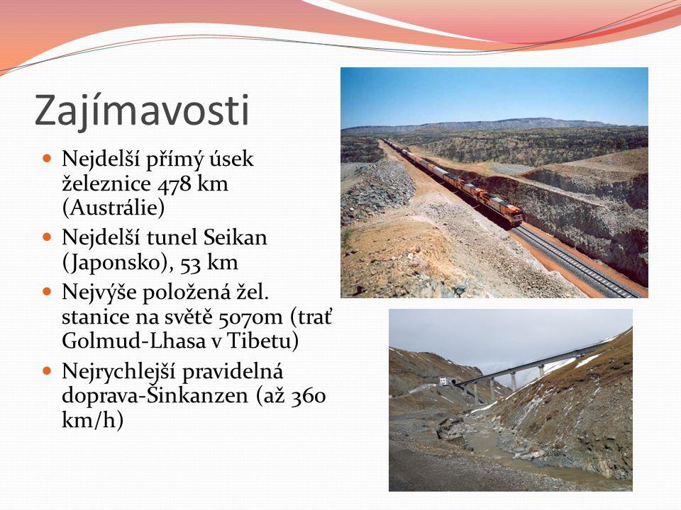 Zajímavosti Nejdelší přímý úsek železnice 478 km (Austrálie) Nejdelší tunel Seikan (Japonsko), 53 km Nejvýše položená žel.