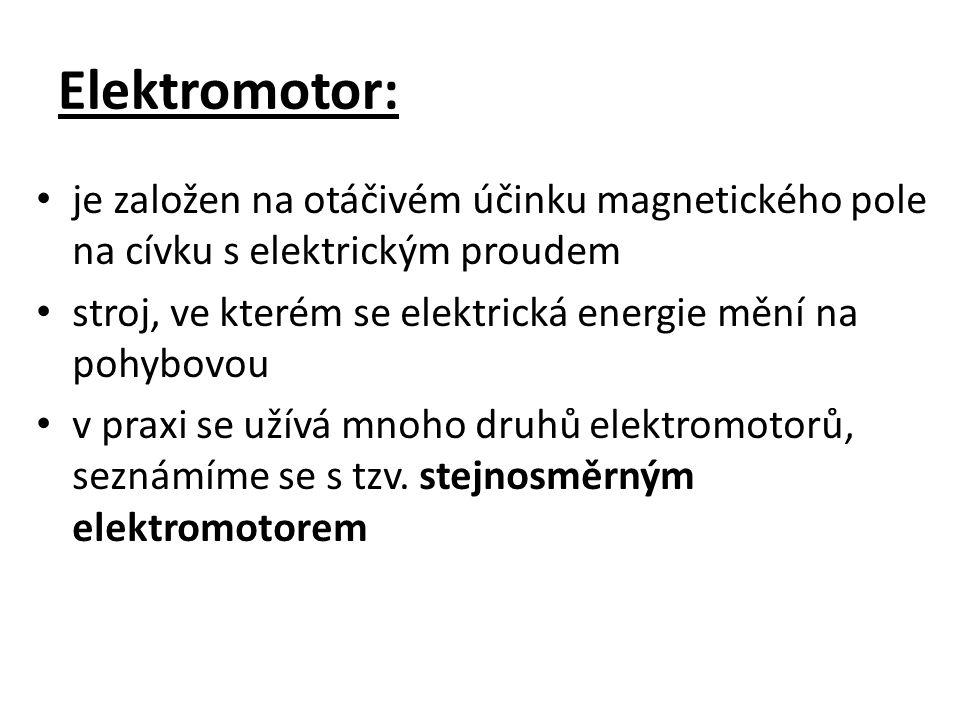 Elektromotor: je založen na otáčivém účinku magnetického pole na cívku s elektrickým proudem stroj, ve kterém se elektrická energie mění na pohybovou v praxi se užívá mnoho druhů elektromotorů, seznámíme se s tzv.