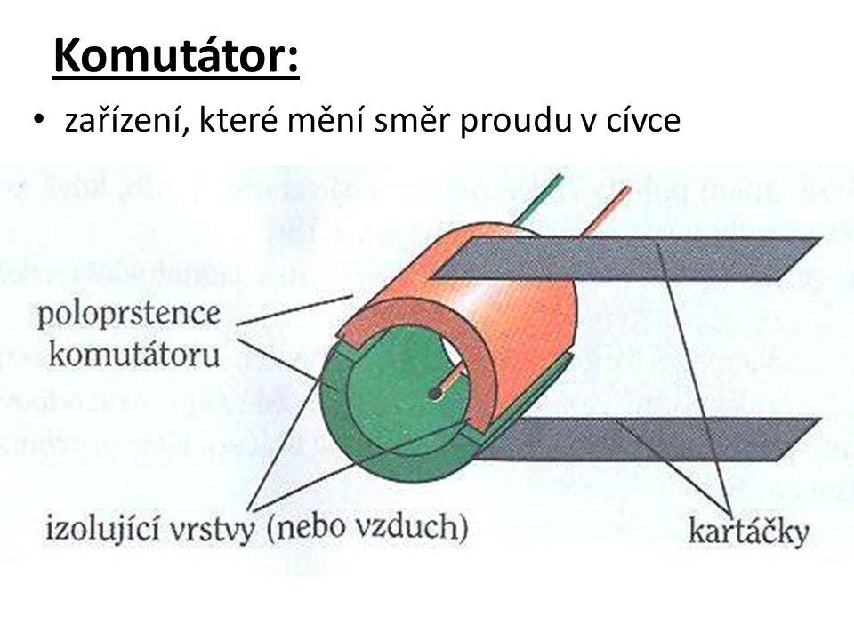 Komutátor: zařízení, které mění směr proudu v cívce