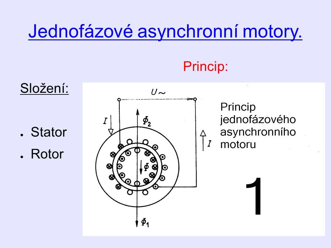 Jednofázové asynchronní motory. Princip: Složení: ● Stator ● Rotor