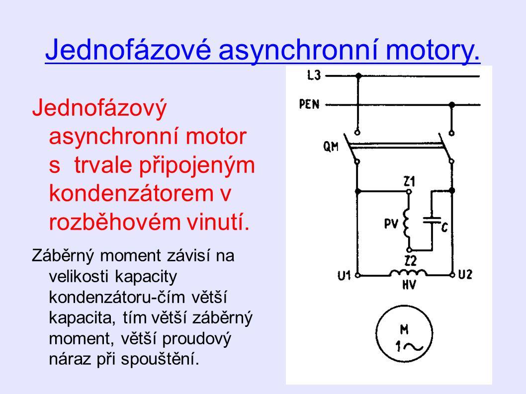 Jednofázové asynchronní motory.