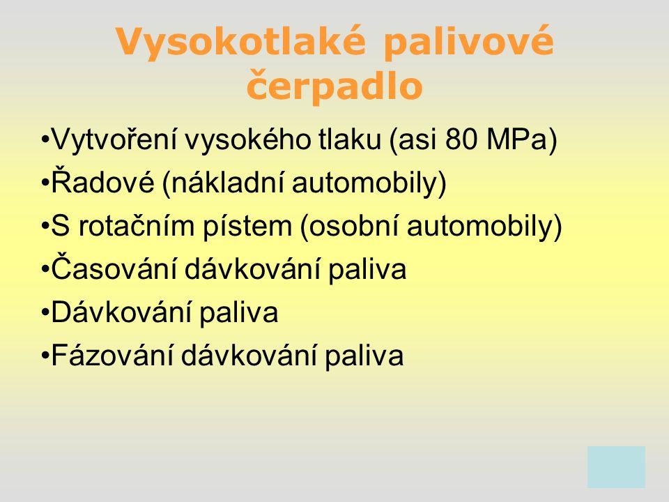 Vysokotlaké palivové čerpadlo Vytvoření vysokého tlaku (asi 80 MPa) Řadové (nákladní automobily) S rotačním pístem (osobní automobily) Časování dávkování paliva Dávkování paliva Fázování dávkování paliva