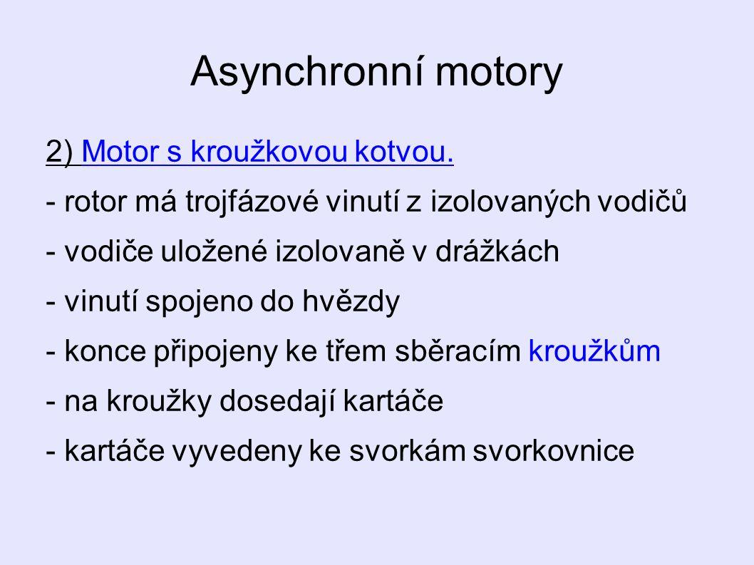 Asynchronní motory 2) Motor s kroužkovou kotvou.