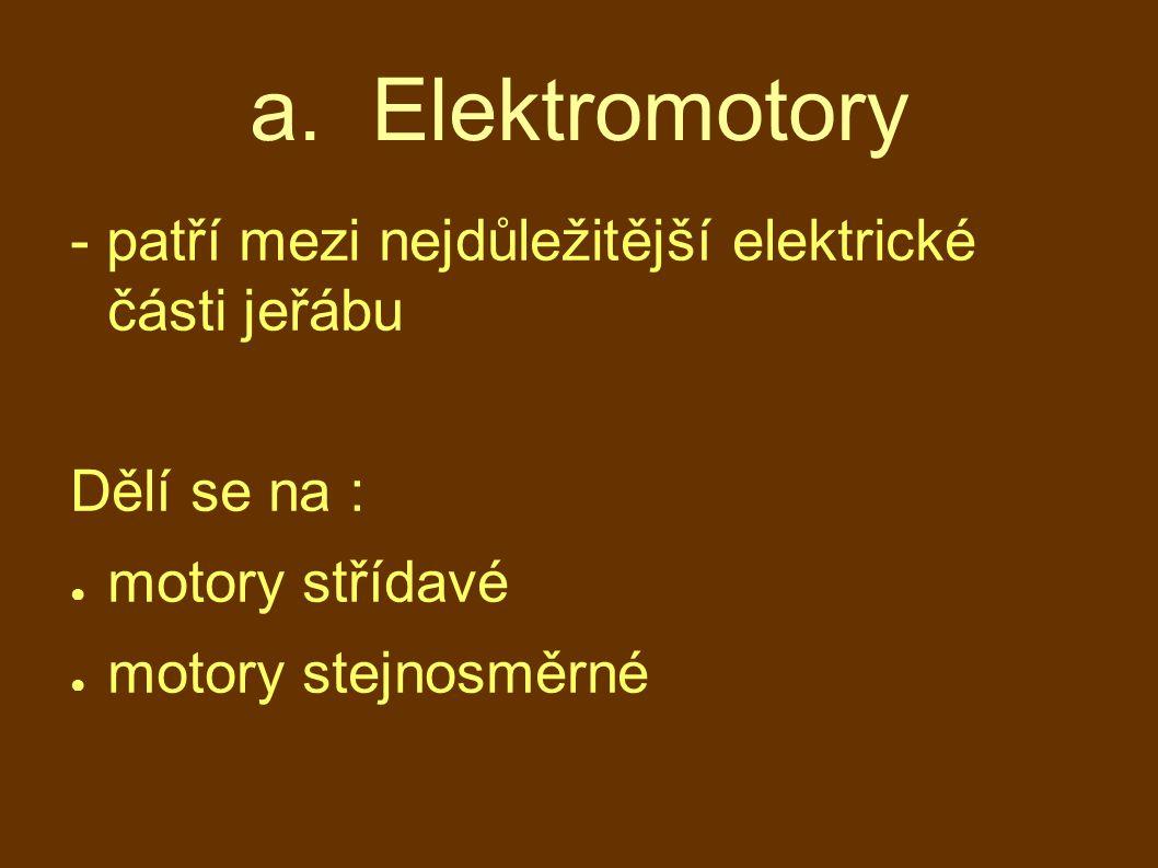 a. Elektromotory - patří mezi nejdůležitější elektrické části jeřábu Dělí se na : ● motory střídavé ● motory stejnosměrné