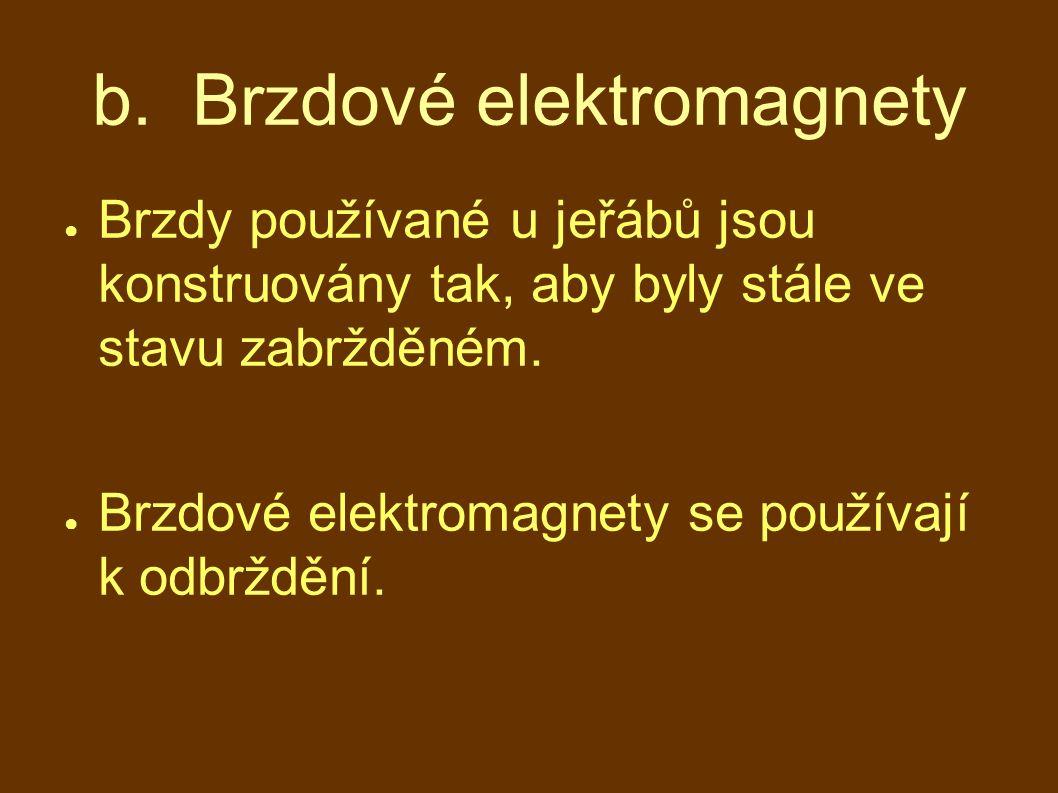 b. Brzdové elektromagnety ● Brzdy používané u jeřábů jsou konstruovány tak, aby byly stále ve stavu zabržděném. ● Brzdové elektromagnety se používají