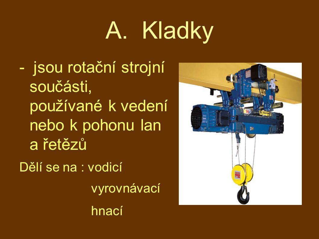A. Kladky - jsou rotační strojní součásti, používané k vedení nebo k pohonu lan a řetězů Dělí se na : vodicí vyrovnávací hnací