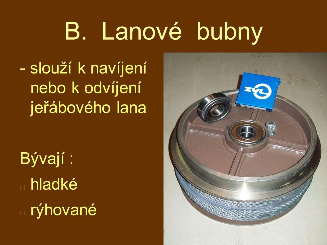 B. Lanové bubny - slouží k navíjení nebo k odvíjení jeřábového lana Bývají : hladké rýhované