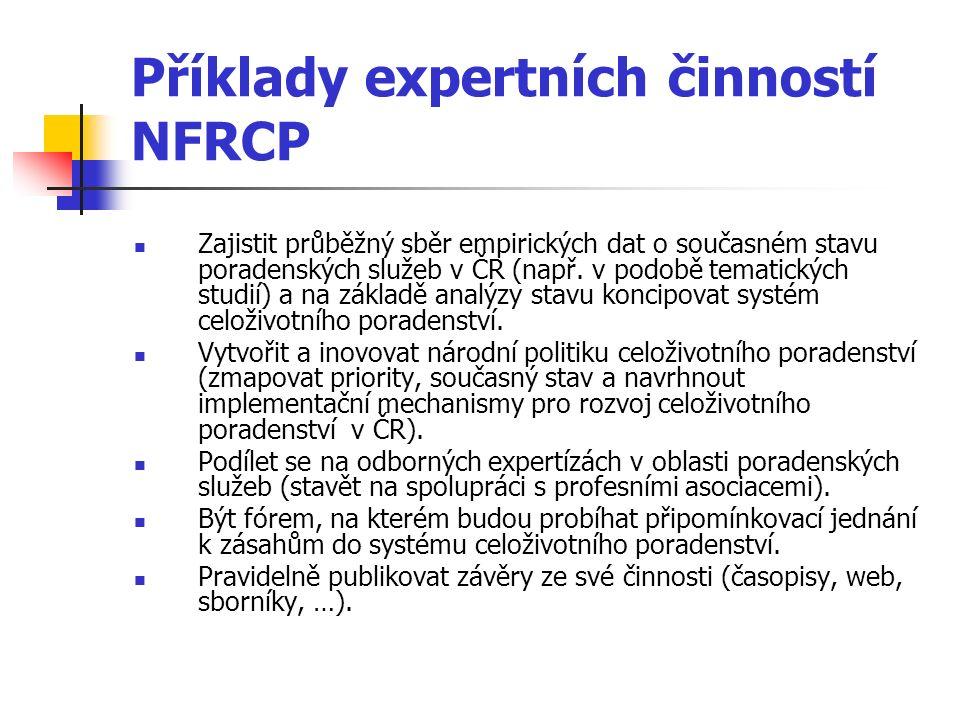 Příklady expertních činností NFRCP Zajistit průběžný sběr empirických dat o současném stavu poradenských služeb v ČR (např. v podobě tematických studi