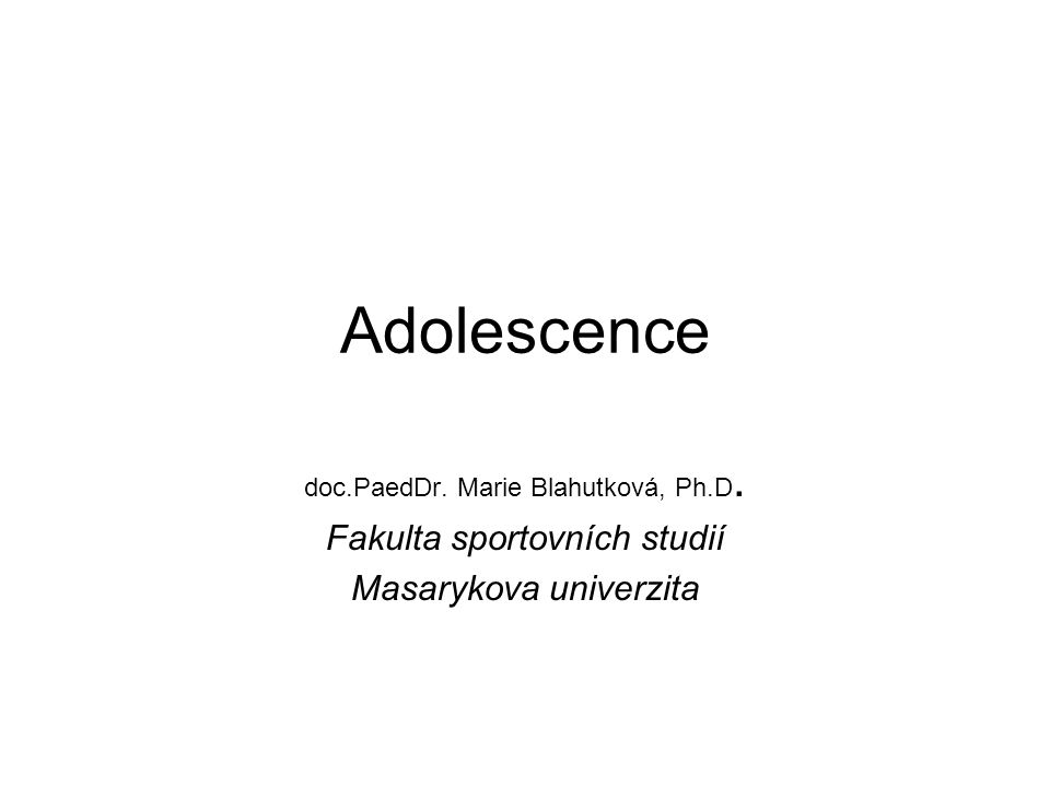 Adolescence – most mezi dětstvím a dospělostí 10 (11) – 20 (22) let Adolescence – adolescere (časná – střední-pozdní) A jako bouře a konflikt : - nevyhnutelný a dramatický střet protikladných tendencí v člověku, psychosociální moratorium – Erikson, 1969, psychoanalýza (vnitřní konflikt) – Freud, 1946, asketismus (strach ze ztráty kontroly nad vlastnímu sexuálními impulzy) a intelektualizace (primárně sexuální a paralelně emocionální konflik) – Freudová, 1946, separace – druhý individuační proces (zvýšená úzkostnost – oidipovský komplex) Blos, 1979 generační konflikt (z pozice dospělé populace) Meeus, 1994 obrácený generační rozpor (očekávání negativních hodnocení od A) Meeus, 1996 ohnisková teorie (současné nárokování několika úkolů – vznik ohniska rozporu) Coleman, 1980 koncept vývojového úkolu, Havighurst, 1974: - přijetí vlastního těla (včetně pohlavní zralosti), - kognitivní komplexibilita, flexibilita a abstraktní myšlení, - uplatnění emocionálního a kognitivního potenciálu ve vrstevnických vztazích, - změna vztahů k dospělým – autonomie, - představa ekonomické nezávislosti a směřování k jjstotám, - získání zkušeností v erotickém vztahu, - rozvoj intelektu, emocionality a interpersonálních dovedností se vztahem ke komunitě, - představa o budoucích prioritách v dospělosti – osobní cíle, styl života - ujasnění hierarchie hodnot (světový názor),