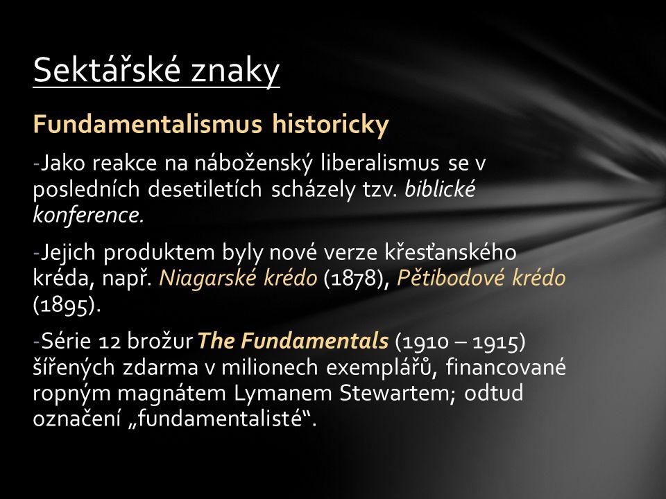 Fundamentalismus historicky -Jako reakce na náboženský liberalismus se v posledních desetiletích scházely tzv. biblické konference. -Jejich produktem