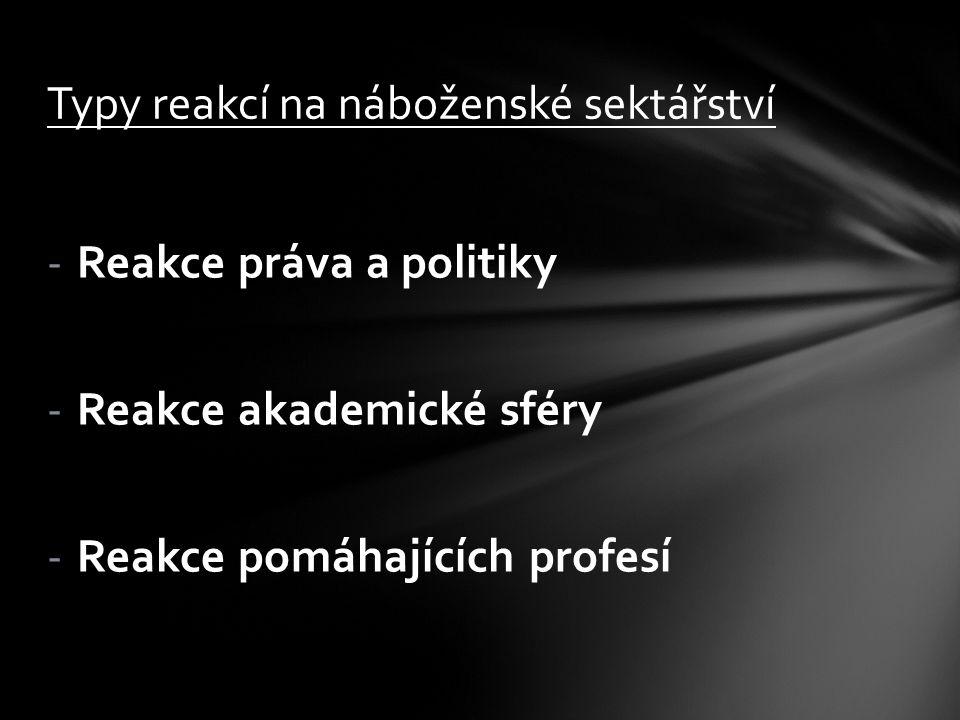 -Reakce práva a politiky -Reakce akademické sféry -Reakce pomáhajících profesí Typy reakcí na náboženské sektářství